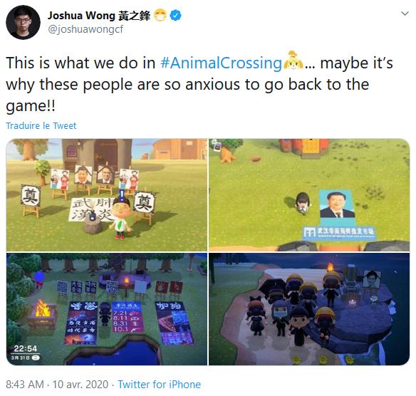 Tweet datant du 10 avril 2020 de Joshua Wong, militant hong-kongais et activiste dans la lutte pour la démocratie de Hong Kong